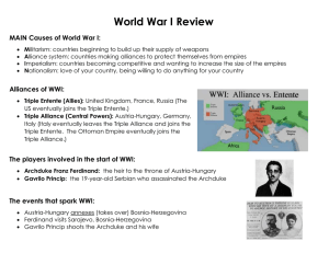 World War I Review MAIN Causes of World War I: