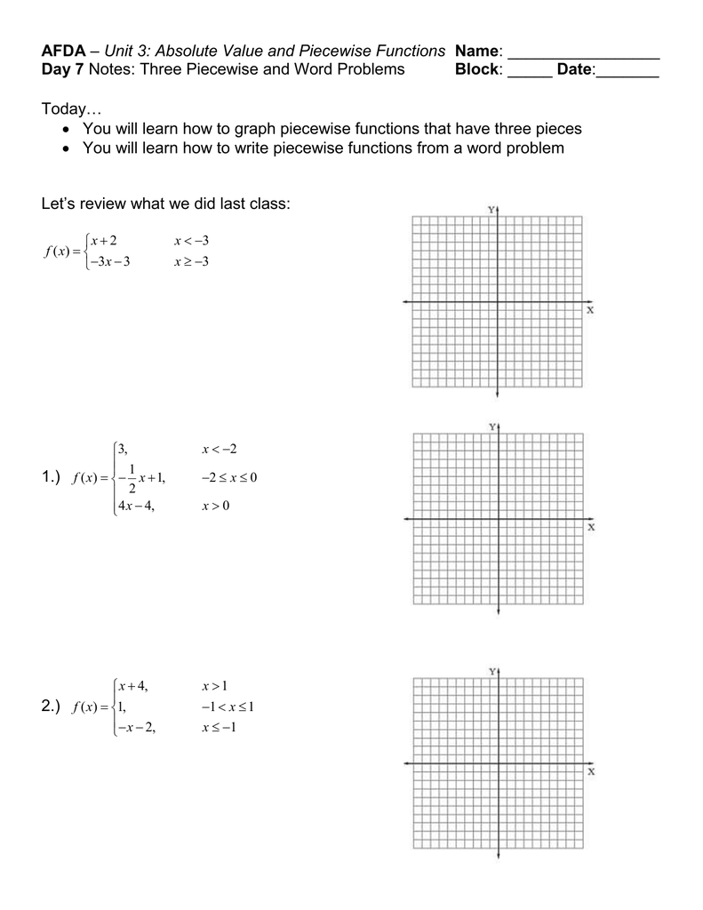 AFDA Day 223 Block Unit 23: Absolute Value and Piecewise Functions In Graphing Absolute Value Functions Worksheet