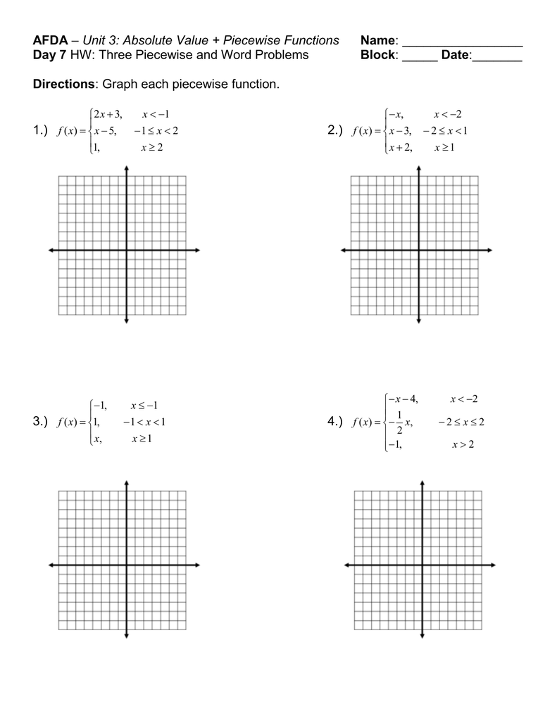 AFDA Name Day 23 Block Throughout Graphing Absolute Value Functions Worksheet