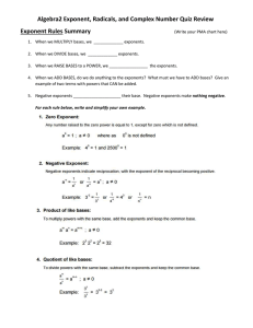 Algebra2 Exponent, Radicals, and Complex Number Quiz Review Exponent Rules Summary