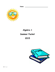 Algebra 1 Summer Packet 2015