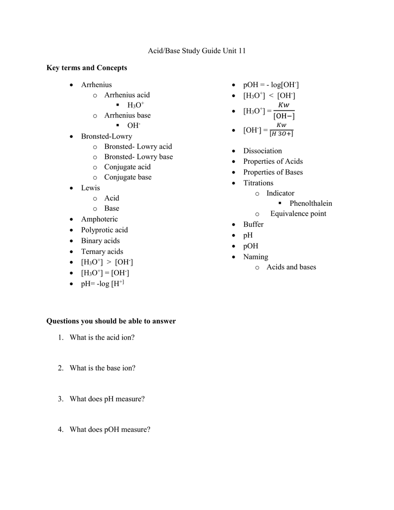 acid base study guide unit 11 arrhenius poh log oh rh studylib net Acid-Base Scale Acid-Base Scale