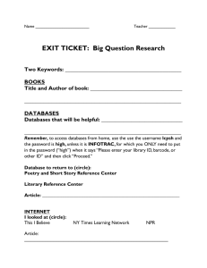 EXIT TICKET:  Big Question Research