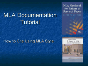 MLA Documentation Tutorial How to Cite Using MLA Style