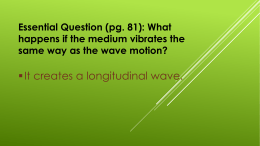 It creates a longitudinal wave.  Essential Question (pg. 81): What