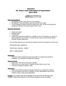 Geometry Ms. Keely's Class Information & Expectations 2015-2016
