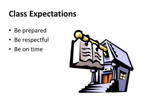 Class Expectations • Be prepared • Be respectful • Be on time