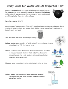 Study Guide for Water and Its Properties Test