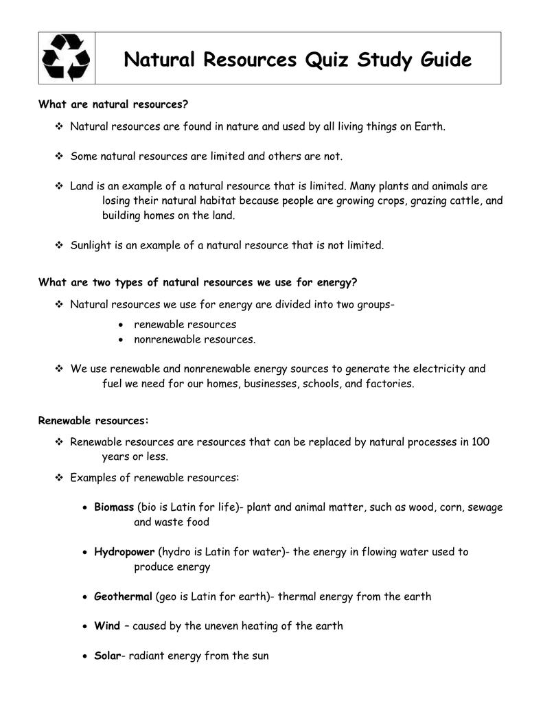 Natural Resources Quiz Study Guide