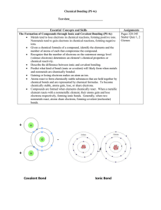 Chemical Bonding (PS 4c) Test date_______________________ Essential  Concepts and Skills Assignments