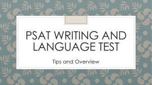 PSAT WRITING AND LANGUAGE TEST Tips and Overview