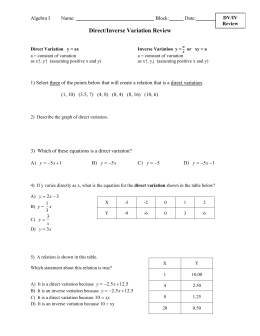 Direct/Inverse Variation Review Algebra I Name: