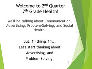 Welcome to 2 Quarter 7 Grade Health!