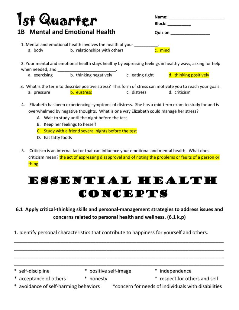 1b Mental And Emotional Health