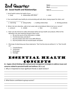 2A   Social Health and Relationships