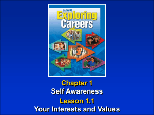 Self Awareness Your Interests and Values Chapter 1 Lesson 1.1