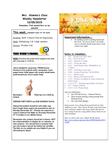 Mrs. Alamina's Class Weekly Newsletter 10/05/2015