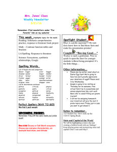Mrs. Jones' Class Weekly Newsletter 3/21/16
