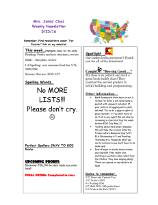 Mrs. Jones' Class Weekly Newsletter 5/23/16