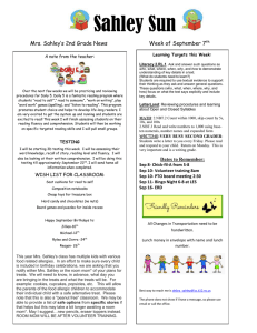 Sahley Sun Mrs. Sahley's 2nd Grade News  Week of September 7