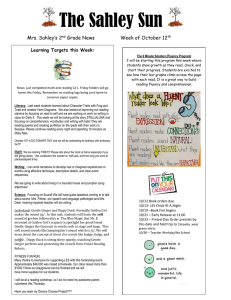 The Sahley Sun Mrs. Sahley's 2 Grade News Week of October 12