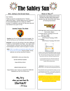 The Sahley Sun  Mrs. Sahley's 2nd Grade News Week of May 9