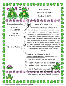 Mrs. Hudson's Classroom Newsletter October 12, 2015 What We're Learning