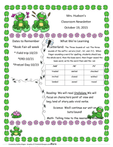 Mrs. Hudson's Classroom Newsletter October 19, 2015 What We're Learning