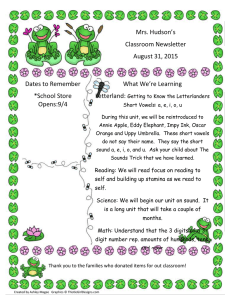 Mrs. Hudson's Classroom Newsletter August 31, 2015 What We're Learning