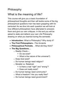 Philosophy What is the meaning of life?