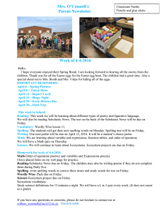 Mrs. O'Connell's Parent Newsletter Week of 4-4-2016