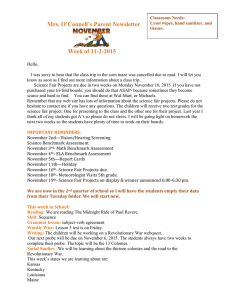 Mrs. O'Connell's Parent Newsletter Week of 11-2-2015