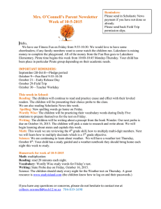 Mrs. O'Connell's Parent Newsletter Week of 10-5-2015