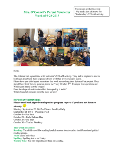 Mrs. O'Connell's Parent Newsletter Week of 9-28-2015