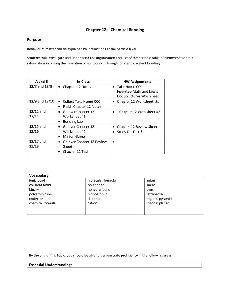 Chapter 12 Chemical Bonding Purpose – Chemical Bonding Worksheet