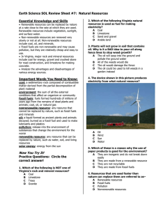 Earth Science SOL Review Sheet #7 :  Natural Resources