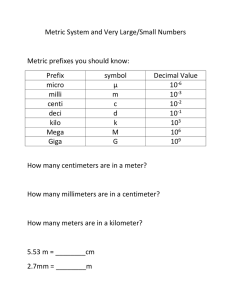 Metric System and Very Large/Small Numbers  Metric prefixes you should know: Prefix