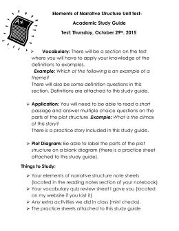 Elements Of Narrative Structure Unit Test Academic Study Guide 2015
