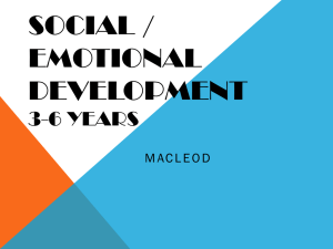 SOCIAL / EMOTIONAL DEVELOPMENT 3-6 YEARS