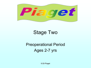 Stage Two Preoperational Period Ages 2-7 yrs 6.02-Piaget