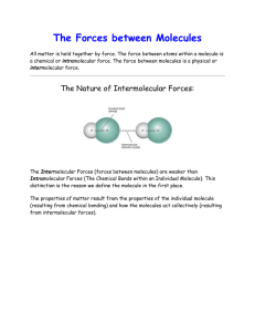 The Forces between Molecules  The Nature of Intermolecular Forces: