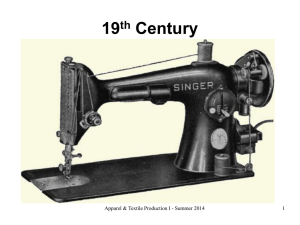 19 Century th Apparel & Textile Production I - Summer 2014