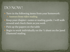 Turn in the following items from your homework: