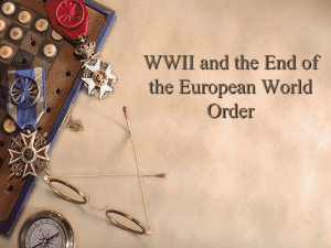 WWII and the End of the European World Order