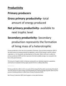 Productivity Primary producers Gross primary productivity- Net primary productivity-