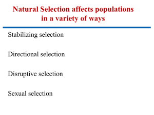 Natural Selection affects populations in a variety of ways Stabilizing selection Directional selection
