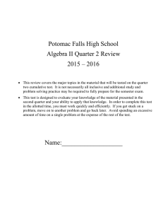 Potomac Falls High School Algebra II Quarter 2 Review 2015 – 2016