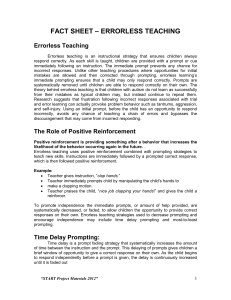 – ERRORLESS TEACHING FACT SHEET  Errorless Teaching