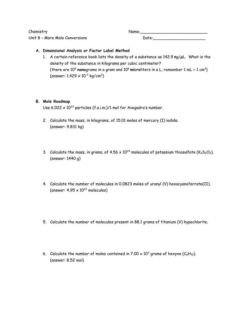 worksheet Factor Label Method Worksheet chemistry name unit 8 more mole conversions name