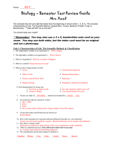 Biology – Semester Test Review Guide Mrs. Reed KEY Name:  ____